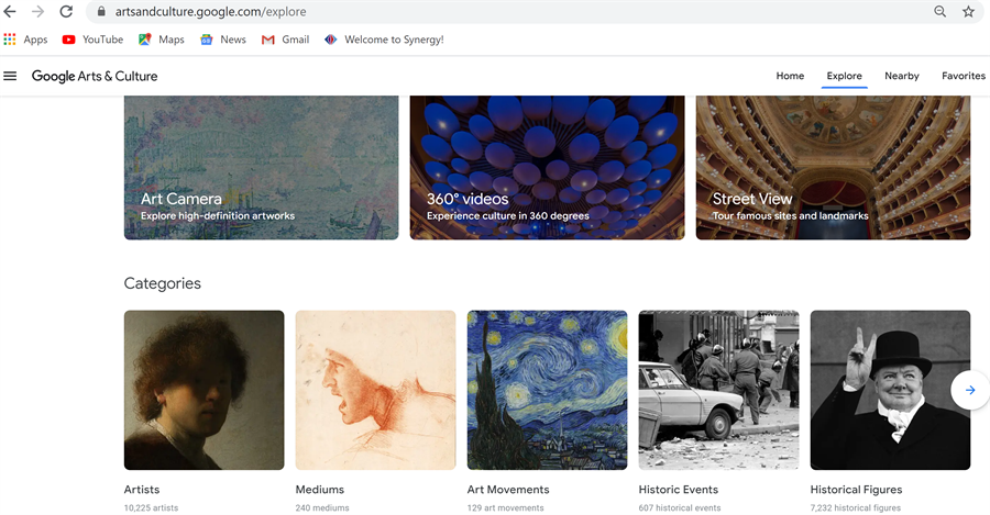 screenshot of Google Arts & Culture webpage