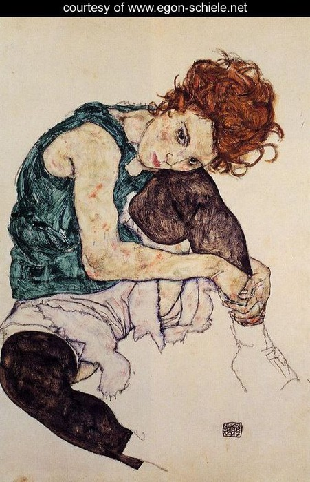 Figure Drawing of seated girl by Egon Schiele